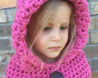 Available in any color, Crochet hooded cowl hat, winter hat