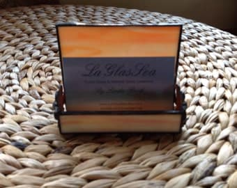 Stained Glass Orange Wispy Business Card Holder