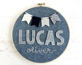 Personalized Hoop Art for Baby Nursery or Child - First and Middle Names with Pennant Banner - Felt and Embroidery - Shower / New Baby Gift