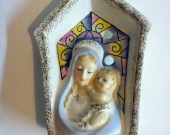 Vintage Catholic Madonna and Child Candle Holder Religious Christian Catholic Altar Shrine Spiritual Elements Holy Mary