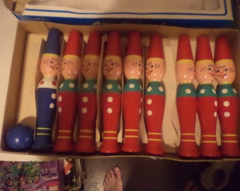 Vintage Western Germany Raslitzer Spielzeu Wood Skittles Game