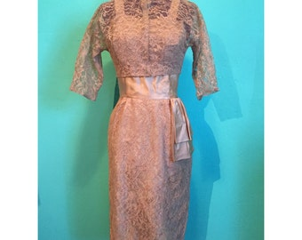 Vintage 1950s Beige Lace Party Dress with Matching Jacket