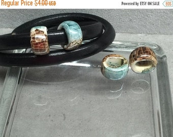 On Sale NOW 25%OFF Greek Ceramic Spacer Beads For Licorice Leather Marbled Teal Paradise CB641 Qty 2