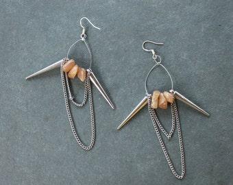 Aventurine, Spike and Chain Earrings