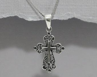 Oxidized Sterling Silver Cross Neckace, Sterling Silver Necklace, Sterling Silver Cross