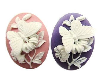 2 Butterfly Cameo 40 x 30 mm Acrylic Cameo Blue Soft Pink Purple Cameo Jewelry making Supplies