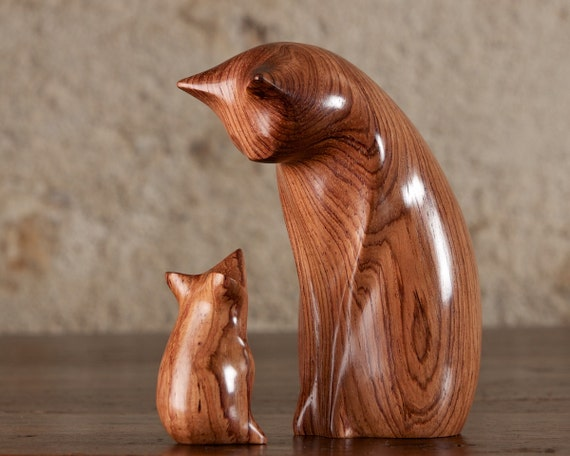 Wooden Cat Statue, Wooden Cat Figurine, Cat and Mouse Carved From Honduras Rosewood by Perry Lancaster, Original Design