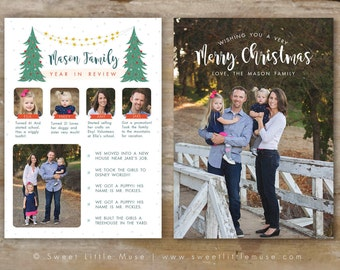 Year in Review Card Template - Christmas card template - Holiday card template