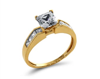 14k solid gold cubic zirconia engagement ring. promise ring