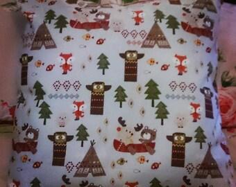 Native american woodland print cushion