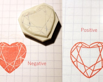 Heart Shape Gem Stone Rubber Stamp Hand Carved  Ready to ship