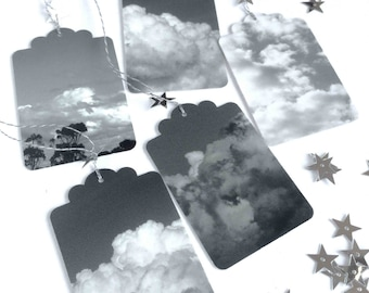 5 Photo gift tags, clouds, silver lining, stars, grey, black and white, label tags, cloudy skies