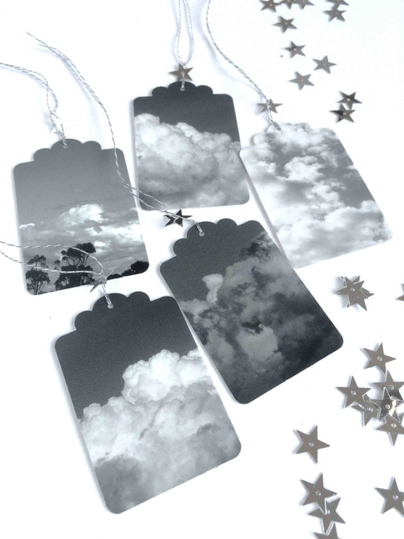 5 Photo gift tags, #makeforgood, clouds, silver lining, stars, grey, black and white, label tags, cloudy skies