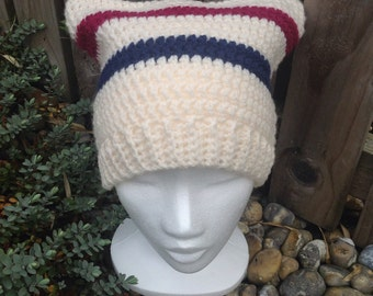 Crochet hat, striped hat, adult hat, womens hat, mens hat, square hat, winter hat, ski hat, crochet beanie, beanie hat, wool hat,