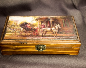Money box accessories box treasury box jewelry box Retro wood box wooden money box