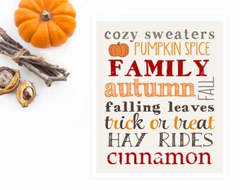 Fall Art Print Collage, Fall Print with Fall Favorites, Thanksgiving Decor, Halloween Decor in Autumn Colors