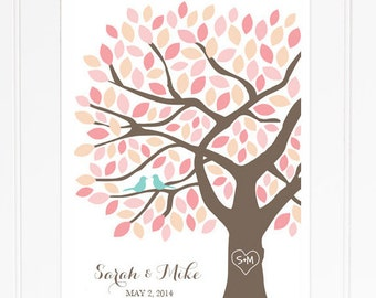 Wedding Guest Book Tree Unique Guest Book Alternative Pink Guestbook for 125 Guests Wedding Tree Guest Book Poster