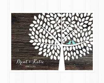 Guest Book Tree, Unique Guestbook Alternative with 150 Leaves, Wood and Turquoise Wedding Guest Book Poster