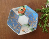 MERIT CHINA PLATE, Blue Orange Flower Saucer plate, Merit China made in Japan