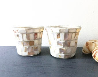 BEACH STYLE VOTIVES, Set of 2 votive candle holders, Mosaic with Mother of Pearl shell tiles, Candle holders Beach theme