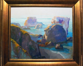 Early Morning At Shell Beach California.   Oil painting By listed artist James Osorio. California Plein Air