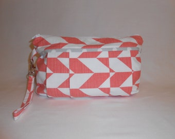 Coral & White Geometric Diaper Clutch with Changing Pad