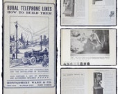Rural Telephone Lines How to Build Them, Illustrated Guide, Booklet, 1970 Collectible Ephemera, 30 page Antique Telephone Book Pages, Prints