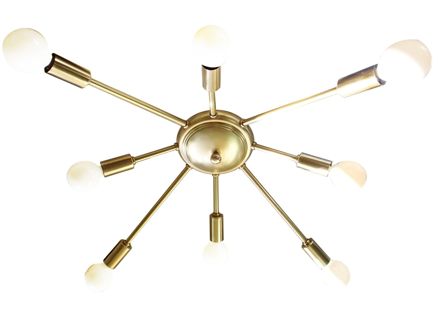Atomic wide 8 arm flush mount sputnik ceiling light starburst for Mid century ceiling lamp