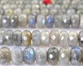15 inches of Natural Labradorite faceted rondelle beads in 6x10mm