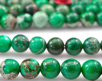 62 pcs of Green Emperor,Green Imperial Jasper,Green Emperor stone smooth round beads in 6mm