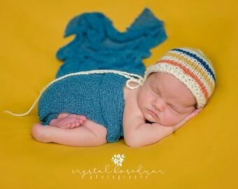 Newborn rainbow knit bonnet