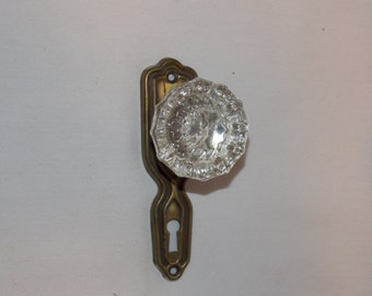 Original Antique Glass Door Knob & Keyplate Wallhanger
