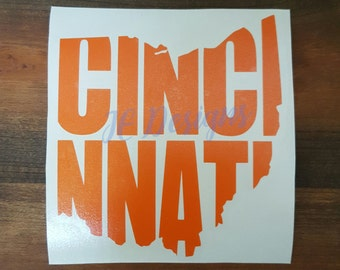Cincinnati Ohio OH Vinyl Decal, State City Cutout, Car Decal, Yeti Cup Decal