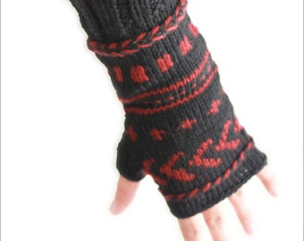 Gloves arm warmers for Women in black, knit fingerless gloves.