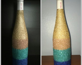 Glitter Color Block Champange  Bottle