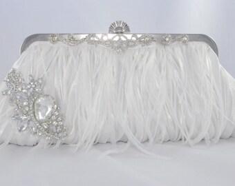 Romanic Bridal Ostrich Feather Clutch, Swarovski Crystal Wedding Handbag, Feather Bridesmaid Clutch, Lush Bridal Clutch, Elegant Wedding Bag