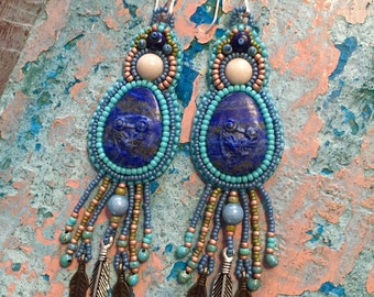 Bead Embroidered Carved Lapis Lazuli Earrings.