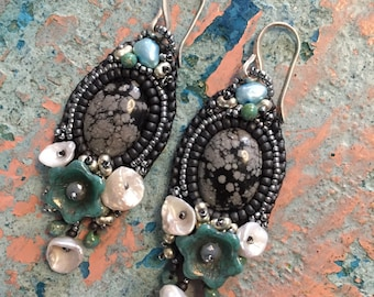 Bead Embroidered Obsidian Earrings