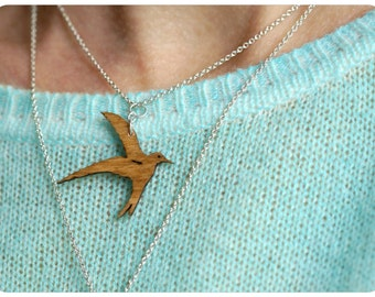necklace martin, silver chain martin, wooden swallow, laser cut jewelry,  small swallow, swallow flight, swallow jewelry, necklace martin