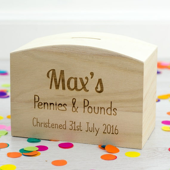 Empty Baby Gift Boxes Uk : Wooden money box christening gift personalised