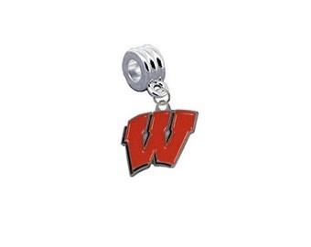 Wisconsin Badgers European Charm for Bracelet