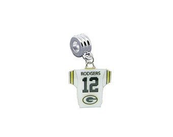 Green Bay Packers Aaron Rodgers Jersey European Charm for Bracelet, Necklace & DIY Jewelry