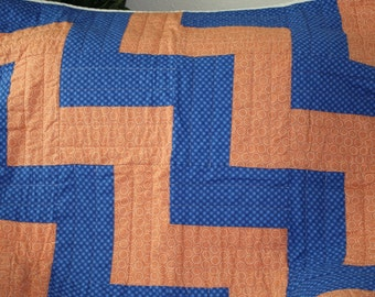 """Blue and Orange toddler or baby quilt 36"""" x 36"""""""