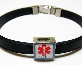 Red Diabetic Type 1 Medical Alert Link With Choice Of Colored Band Charm Bracelet