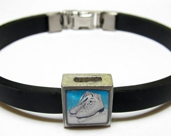 Figure Ice Skates Link With Choice Of Colored Band Charm Bracelet