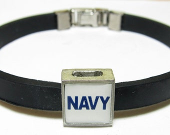 Military Navy Link With Choice Of Colored Band Charm Bracelet