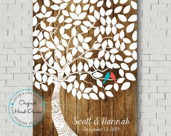 Personalized Guest Book Print, Wedding Guestbook Alternative, Wish Tree, Rustic Wedding Tree, Wedding Gift, Bridal Gift, Wedding Sign Poster