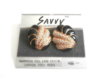 Savvy by Swarovski Gold Plated Post Earrings set with Crystals New (D)