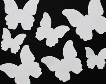 """Paper butterfly die cuts /white/ 25 pc/  size from 1.5"""" to 8""""  great for tags, scrapbooking, room decor"""