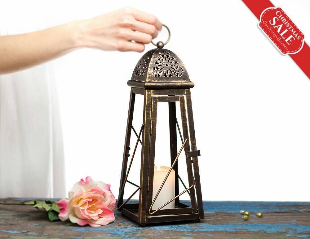 Rustic wedding lanterns centerpieces moroccan décor bronze